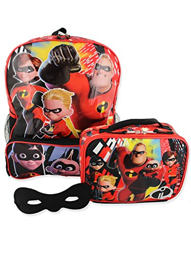 The Incredibles 2 Kids Backpack and Lunch Box School Set with Eye Mask (One Size, Black/Red)