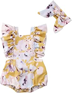 Toddler Baby Girl's Ruffled Floral Flower Romper Overall Bodysuit Clothes Outfits