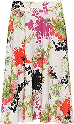 WEARALL Women's Plus Floral Skater Skirt Print Knee Length Elasticated Stretch