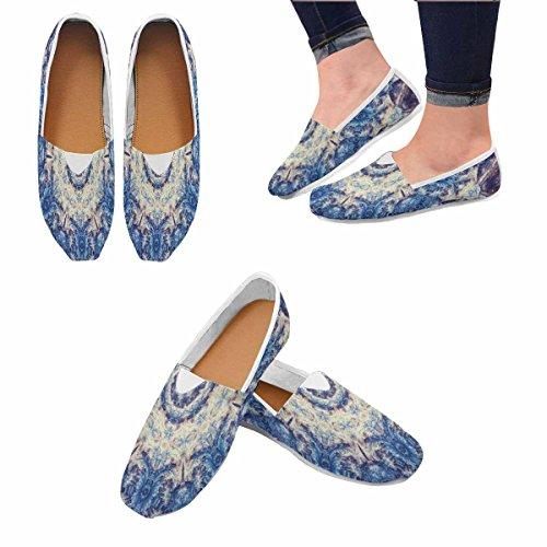 Interestprint Mocasines Para Mujer Classic Casual Slip De Lona En Los Zapatos Zapatillas Flats Blue Fractal Mandala Multi 1