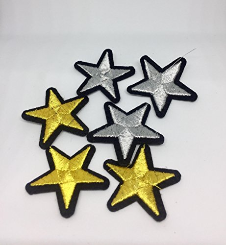 6PCs Gold, Silver Star Embroidered Iron On Badges Patches For Clothing Cartoon Motif Applique Sticker For Clothes