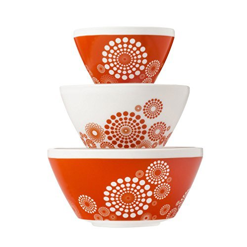 Pyrex Vintage Charm Tickled Pink 3 Piece Mixing Bowl Set, inspired by Pyrex