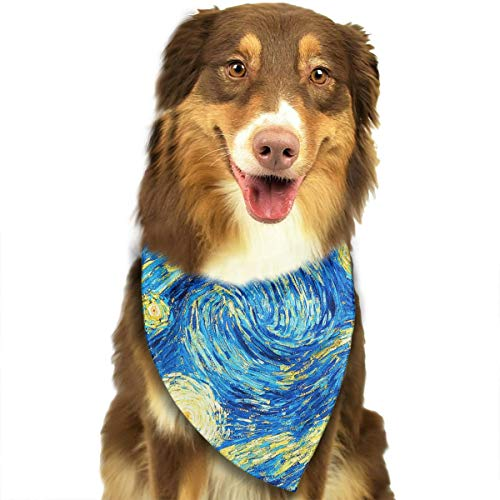 ANYWN Pet Dog Bandanas The Starry Night Van Gogh Triangle Bibs Scarfs Accessories for Puppies Cats Pets Animals Large Size