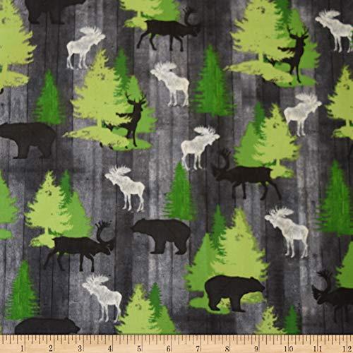 Moose Trail Lodge - QT Fabrics Moose Trail Lodge Animals & Pine Trees Fabric, Gray, Fabric By The Yard