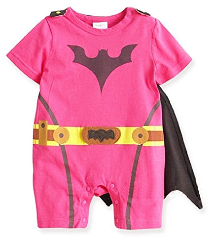 [Spiderman Superman Batman Supergirl Baby Toddler All in 1 Fancy Dress Outfit Romper Suits with Cape (95 (18-24month),] (Baby Batgirl Outfit)