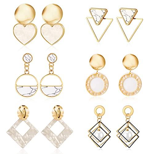 CHANBO 6 Pairs Earrings Geometric Shell Earrings Pendant Women's Wedding Fashion Jewelry