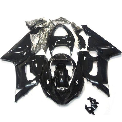 (ZXMOTO K0605 ABS Plastic Motorcycle Bodywork Fairing Kit for Kawasaki 05-06 Ninja ZX-6R 2005-2006 Gloss Black - (Pieces/kit: 21))