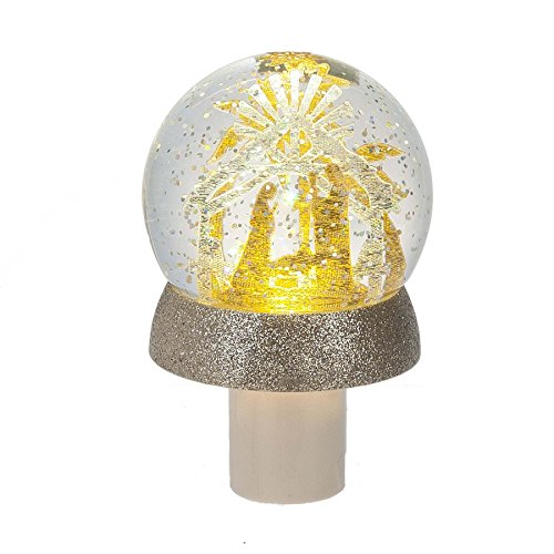 Holy Family Nativity Globe LED Light Up 3 x 5 Inch Acrylic Wall Plug-in Shimmer Night Light