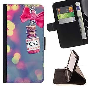 BullDog Case - FOR/HTC Desire 820 / - / love blurry bow bowtie blue lights /- Monedero de cuero de la PU Llevar cubierta de la caja con el ID Credit Card Slots Flip funda de cuer