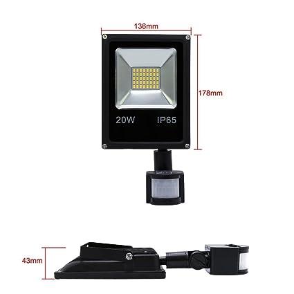 VINGO® Foco LED 20W Blanco frío Resistente al agua IP65 con Sensor de Movimiento: Amazon.es: Iluminación