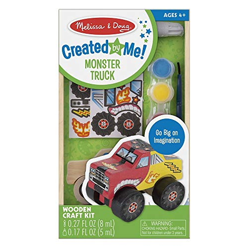 Melissa & Doug Created by Me! Monster Truck Wooden Craft Kit (27 Stickers, Paint & Glue) (Monster Truck Books For Boys)