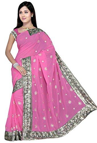 Pink Women's Wedding Sequin Embroidered Saree Sari fabric – BB