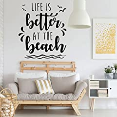 This beach themed vinyl decal will look great in your beach home or in other living spaces where you want to instill a sense of all the great things attached to the beach and the ocean. Put this vinyl lettering in your living room, bathroom, ...
