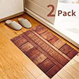 2 Pack Rubber Indoor Doormat Rustic Entrance Welcome Mat 18X30 Heavy Duty Low Profile Front Door Mat Home Decor Non Slip Entryway Rug for Apartment Garage Kitchen Inside Shoe Scraper Floor Carpet