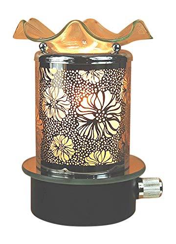 Electric Glass Metal Plug in Night Light Tart Burner Oil Warmer Night Light Floral Decor