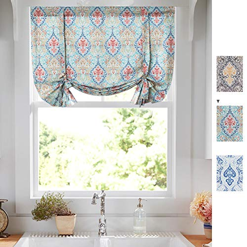 jinchan Tie Up Curtains Damask Printed Paisly Rod Pocket Drapes Multicolor Medallion Flax Living Room's Window Curtain 1 Panel 54