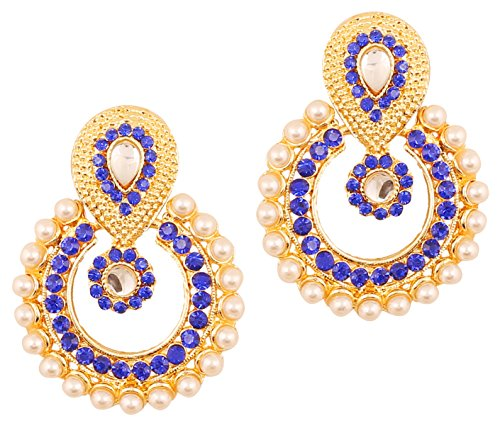 Blue Stone Chandelier - Touchstone Indian Bollywood Chandbali Moon Kundan polki faux pearls and blue sapphire Rhinestone long bridal designer jewelry chandelier earrings for women in gold tone