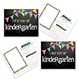 Kindergarten First & Last Day of School Photo Prop Sign - Pastel Pennant Flags Chalkboard Design