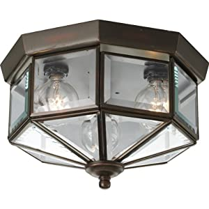 Progress Lighting P5788-20 Octagonal Close-To-Ceiling Fixture with Clear Bound Beveled Glass, Antique Bronze