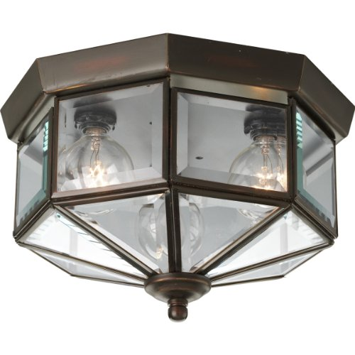 Elegant Bound Glass Lighting - Progress Lighting P5788-20 Octagonal Close-To-Ceiling Fixture with Clear Bound Beveled Glass, Antique Bronze