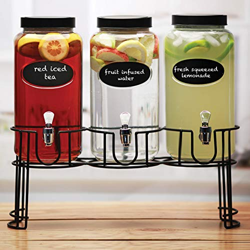 (Circleware 69111 Trimont Set of 3 Glass Beverage Dispensers with Lid Chalkboard & Black Metal Stand, Entertainment Kitchen Glassware for Water, Juice, Wine, Kombucha and Cold Drinks, 118 oz Clear)