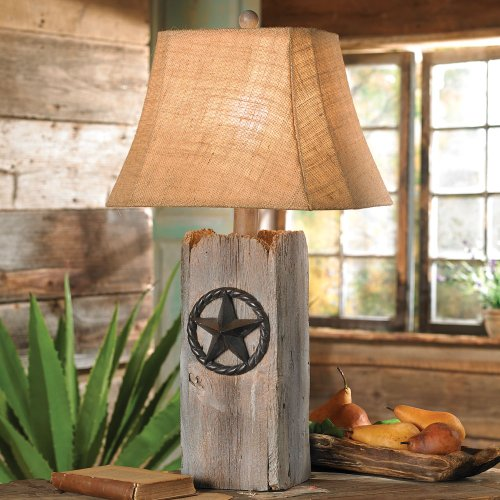 Forest Rustic Table Lamp - Black Forest Decor Rustic Star Table Lamp - Rustic Lighting