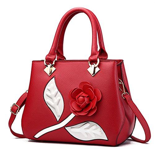 Ruiren Multifunction Pink Flower Form Soft Leather Bags Laptop Shoulder Bags For Women, Women Messenger Bag Purse Shoulder Bag Burgundy Woman