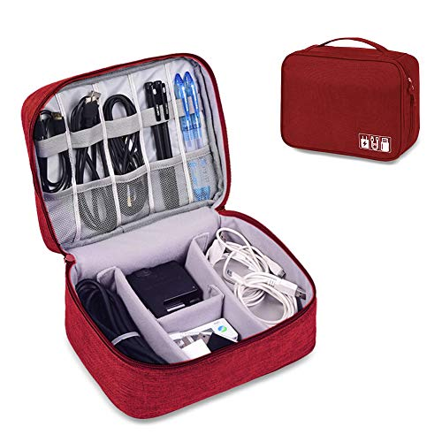 Travel Electronics Accessories Organizer Bag- Waterproof Cable Organizer Bag with 3 Removable Dividers, Padded Gadget Carrying Case for Cables, Portable Chargers, Electronics Adapters