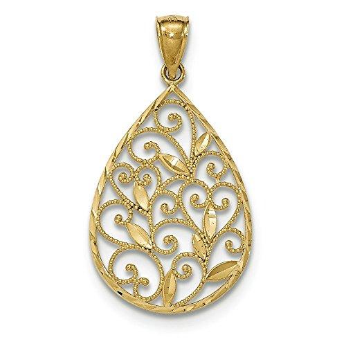 En or 14 carats entièrement poli et texturé JewelryWeb pendentif en forme de goutte en filigrane