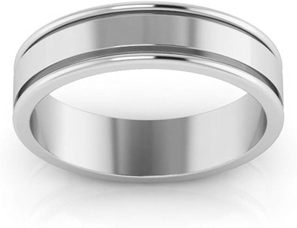 14K White gold 5mm raised edge non comfort fit mens /& womens wedding bands