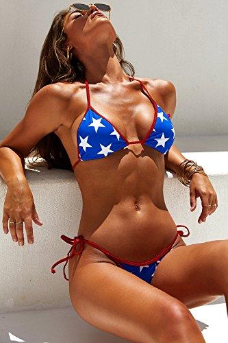 DOLL & CO. Women's Lima Print Triangle Bikini Top with Contrast Trim XL
