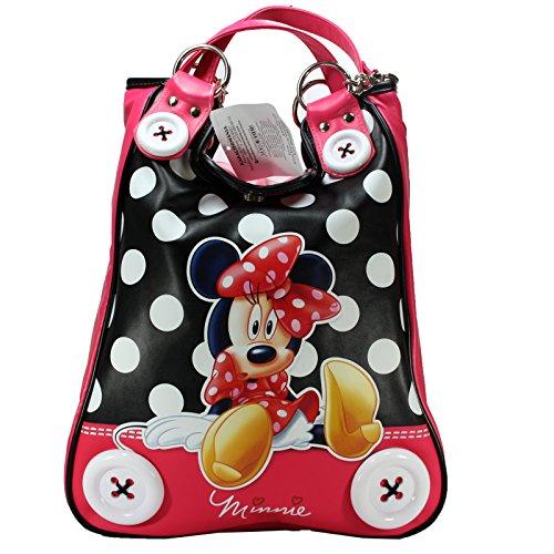 Disney Borsa Da donna Minnie Mouse Doppio Manico Fantasia Bottoni Topolina Ecopelle