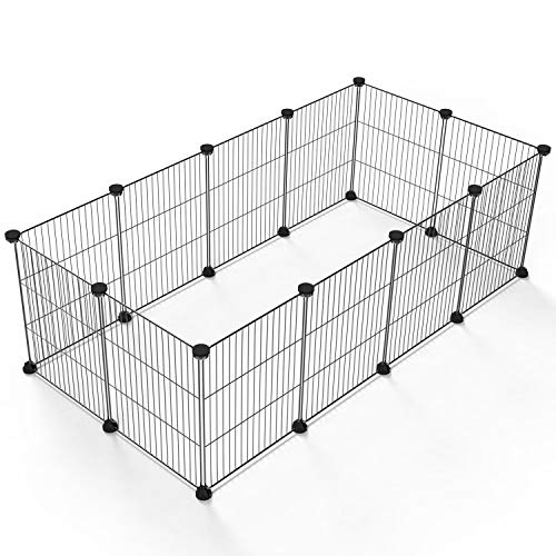 Tespo Pet Playpen, Small Animal Cage Indoor Portable Metal Wire yd Fence for Small Animals, Guinea Pigs, Rabbits Kennel Crate Fence Tent, Black 12 Panels from Tespo