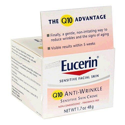 Eucerin Peau sensible Visage Anti-Rides Q10 Peau Sensible Creme, 1,7 onces Jars (Pack de 2)
