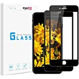 EyeO2 Glass Screen Protector Compatible iPhone 7/8 9H Hardness Full Cover Edge to Edge Protective Film Bubble Free & Anti-fingerprint Screen Guard for Apple iPhone 7, 8 Black (2 Pack)