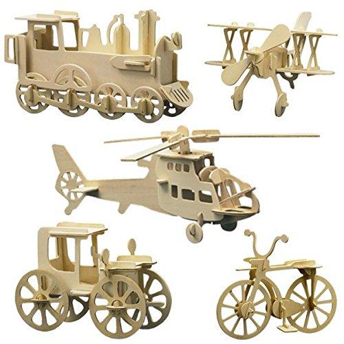 matches21 3D Fahrzeuge & Flugzeuge 5er Set Lokomotive Fahrrad Hubschrauber Doppeldecker Oldtimer Bastelsets Kinder ab 8 J matches21 HOME & HOBBY