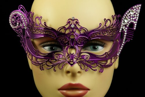 RedSkyTrader Womens Elegant Metal Laser Cut Party Mask One Size Fits Most White