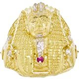 Men's 10k Two-Tone Gold Round Cut Cubic Zirconia King Tut Egyptian Pharaoh Ring, Size 12