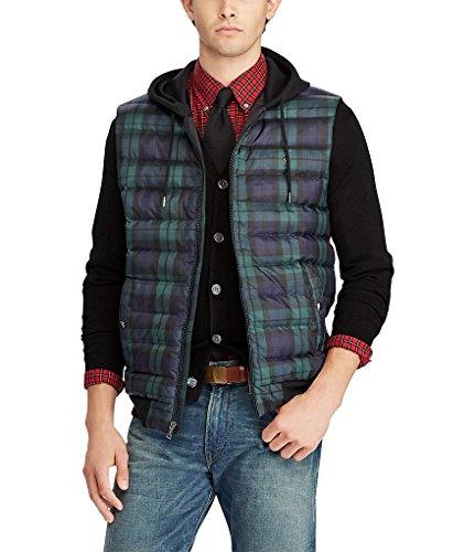 RALPH LAUREN Polo Sport Men Tartan Plaid Hooded Down Jacket Vest Large XL