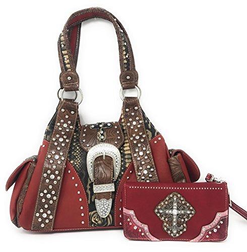Texas West Hebilla del bolso rojo mediano de las mujeres Rojo