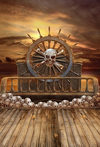 Leyiyi 3x5ft Photography Background Vintage Ghost Ship Happy Halloween  Party Backdrop Grunge Skull Rudder Pirate Chariot Sunset Rock Music Carnial