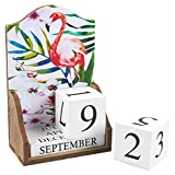 Wooden Desk Calendar - Wooden Block Perpetual Calendar for Home and Office Desk Decor, Flamingo Design, 5.5 x 8.75 x 3 inches