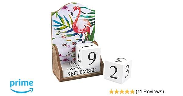 Amazon Com Wooden Desk Calendar Wooden Block Perpetual Calendar