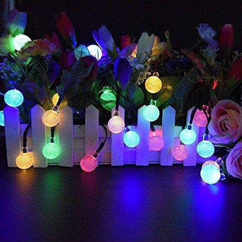 Solar String Lights Outdoor 30 Led 21Ft Solar Power Waterproof Crystal Ball Fairy Twinkle Lights Multicolor for Decor Indoor Garden Corridor Party Wedding Chirtmas (Crystal Ball Multi-Color)