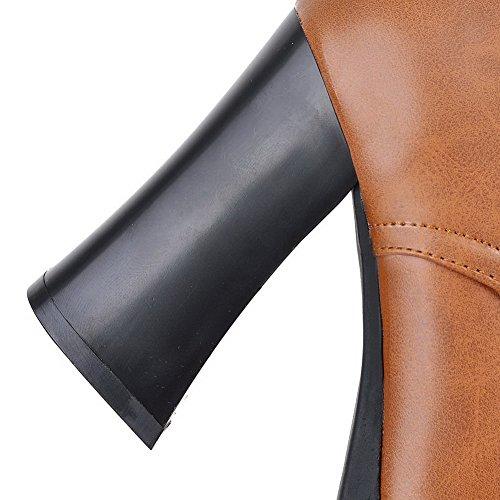 AllhqFashion Damen Rein Wasserdicht Plattform Schnüren Hoher Absatz Stiefel Braun