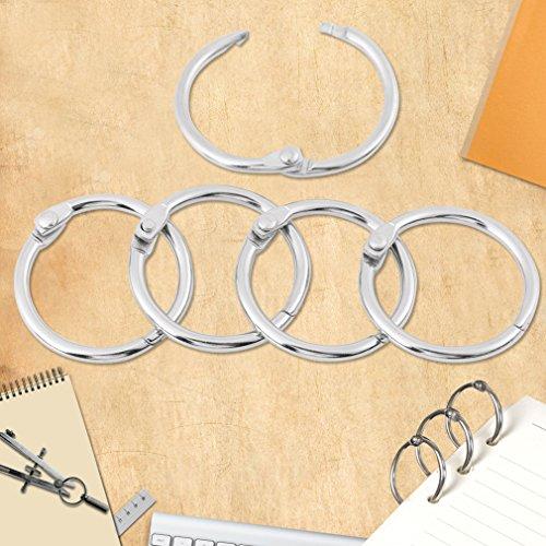 Hinged Rings Binder/Split Rings for DIY Scrapbook/Photo Album/Memo/Menu Craft,Seamless Nickel Plated Metal,3 Size 20 Pcs (25mm Dia) - Split Metal Album Rings