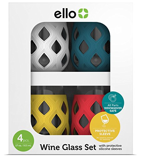 Ello Cru Stemless Wine Glasses with Silicone Protection – Set of 4