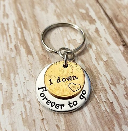 1 Year Down and Forever To Go 1st Anniversary Coin Key Chain Lucky Copper Penny