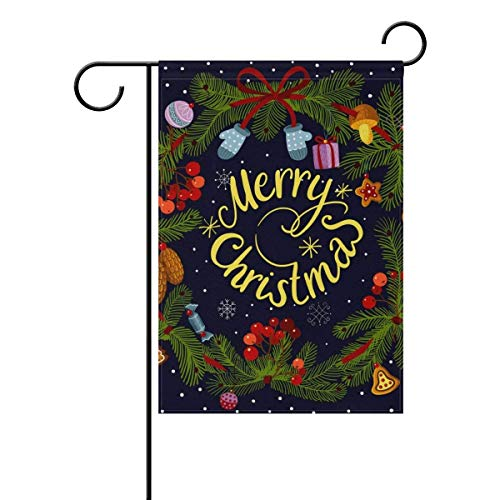 Merry Christmas Wreath with Decorations Squirrel Polyester Double Sided Printing Fade Proof for Outdoor Courtyards Garden 12x18 inch