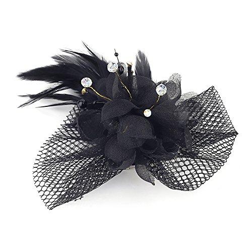 Women Flower Feather Mesh Net Beaded Fascinator Hairpin Hat Headband (black)